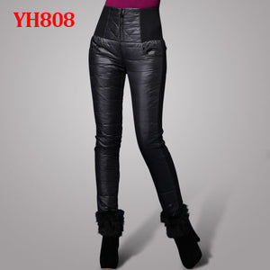 Women Pants Trousers Winter High Waisted Outer Wear Women female Fashion Slim Warm Thick Duck Down Pants Trousers skinny
