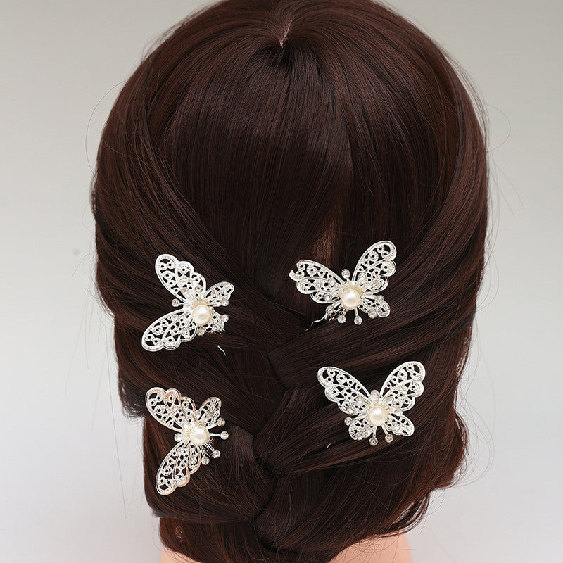 4 Pcs High Quality Hair Jewelry Accessories Wedding Bridal Bridesmaid Red White Metal Butterfly Hairpin Headpiece Hair Clip