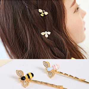 Cute Bees Crystal Wings Hairpins Decorations Hair Accessories Clips for Girls Barrettes Hair Jewelry for Women
