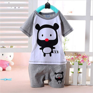 100% Cotton Baby Boys Girls Clothing Set Children Shirt + Pants Set Kids Cartoon Clothes Casual Suits 5 Design 2016 Summer