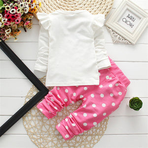 Polka Dot 2 Pcs Girls Clothing Sets Kids Clothes T Shirt Leggings Pants Baby Kids Cute Cartoon Suits Children Clothes Tops Suit