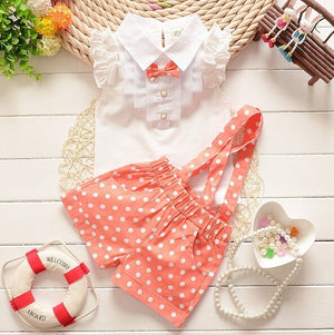 Kids clothes girls summer 2016 girls clothing sets toddler girl clothing T-shirt + dot pants children clothing