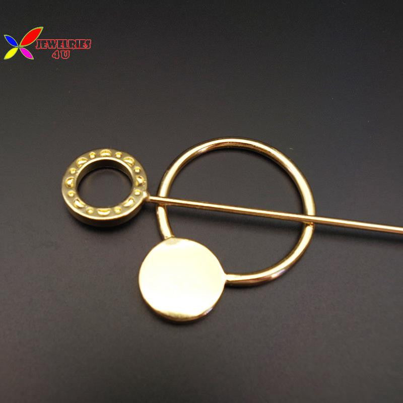 2016 Fashion Designer gold silver metal circle hair clasp jewelry hair sticks for women accessories varas de cabelo