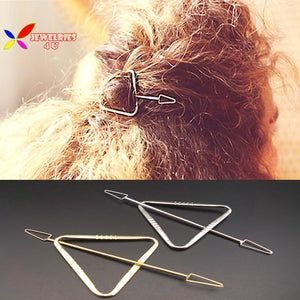 2016 Christmas Gift Fashion designer gold silver metal triangle hair sticks hair jewelry accessories for women varas de cabelo