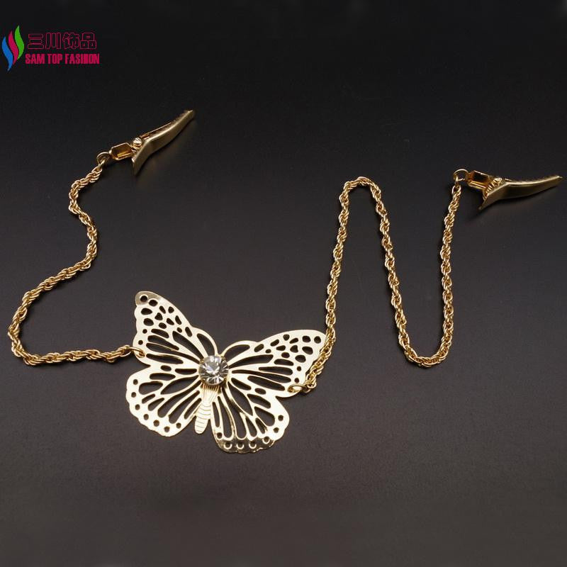 2016 New Arrival Hair Jewelry Fashion Accessories Gold/Silver/Rose-Gold Metal Butterfly Hair Clip For Women cadena de pelo