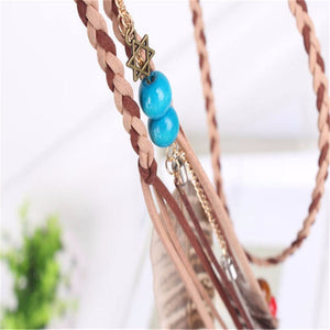Elastic Hair Bands Beads Peacock Featherturban Headband Leather Chain Pendants Hair Accessories for Women