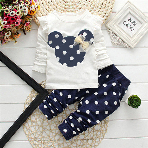 2016 New Spring Autumn children girls clothing sets mouse clothes bow tops t shirt leggings pants baby kids 2 pcs suit