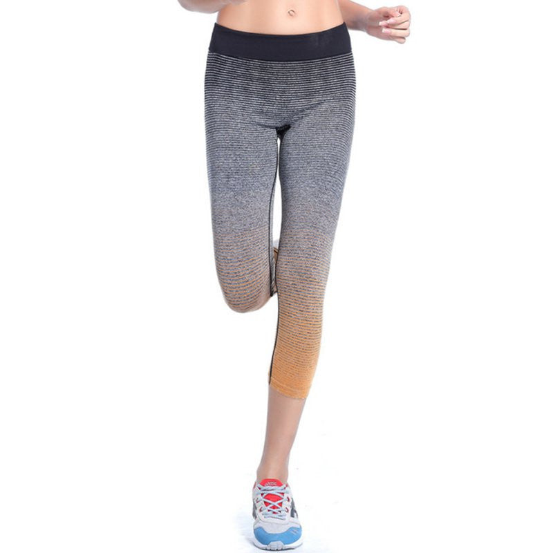 Yomsong Women Sport High Waist Pants Summer Capri Pants Running Fitness Gym Clothes Elastic Capris Gym Athletic Sports Leggings