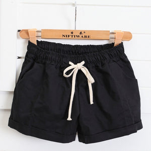 Women' Summer Cotton Shorts Female Plus Size Casual Elastic High Waist Solid Color Short Pants For Ladies feminino