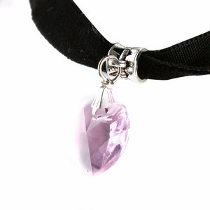 2 PCS Gothic Velvet Heart Crystal Choker Handmade Necklace Pendant Retro 80 90s New