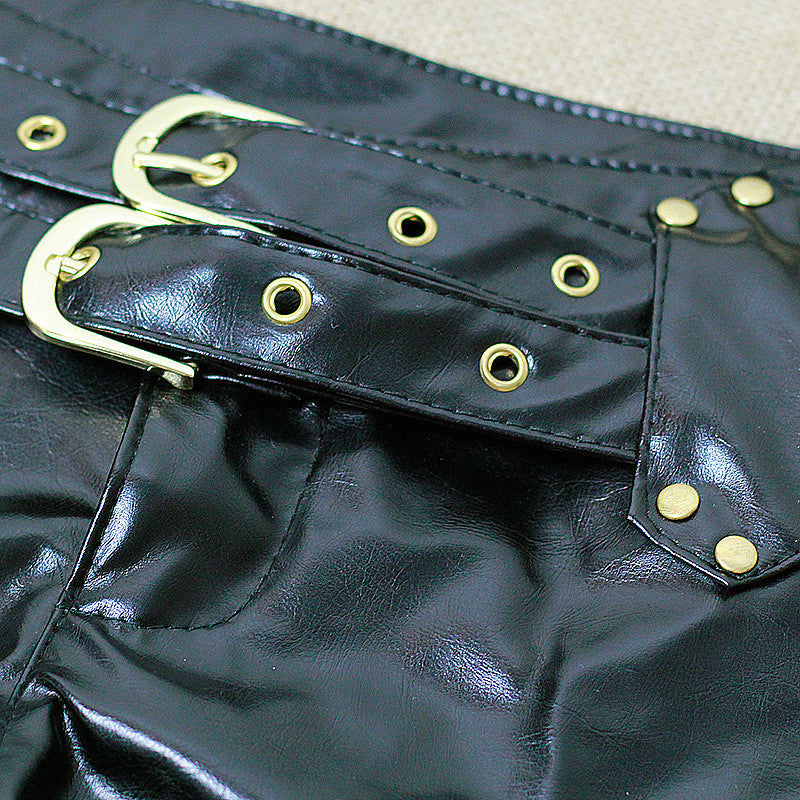 1PCS Sexy Faux Leather Hot Shorts Double Sashes Low Rise Waist Micro MINI Shorts With Zipper Open Erotic Culb Wear