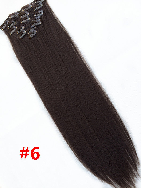 "24""(60cm)7pcs set 115g-125g 17 colors Long Straight Synthetic Hair Clip in on hair extensions"