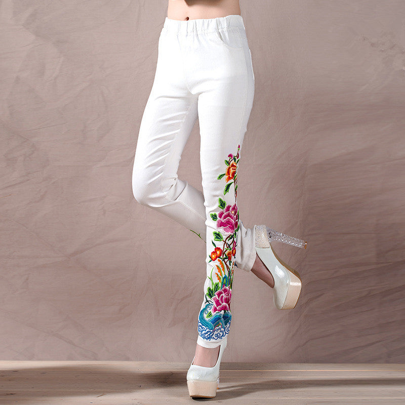 Black And White Trousers Spring Autumn Women New Large Size Casual Embroidery Flowers Skinny Elastic Waist Long Pant