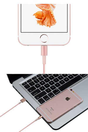1m 2m 3m 8pin Rose Gold Data Charger Cable for iPhone 5 5S 6 6S Plus IOS9 Fast Charging Phone Cables for iPad