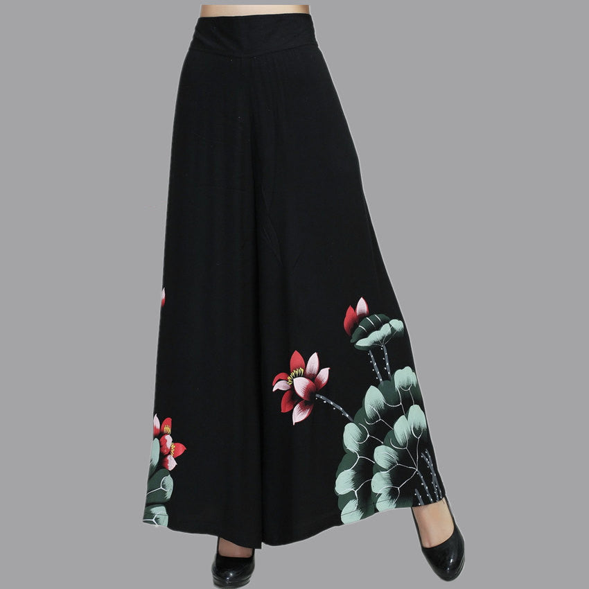 Vintage Black Female Spring Wide Leg Pant  Stye Women's Cotton Elastic Waist Loose Trousers M L XL XXL