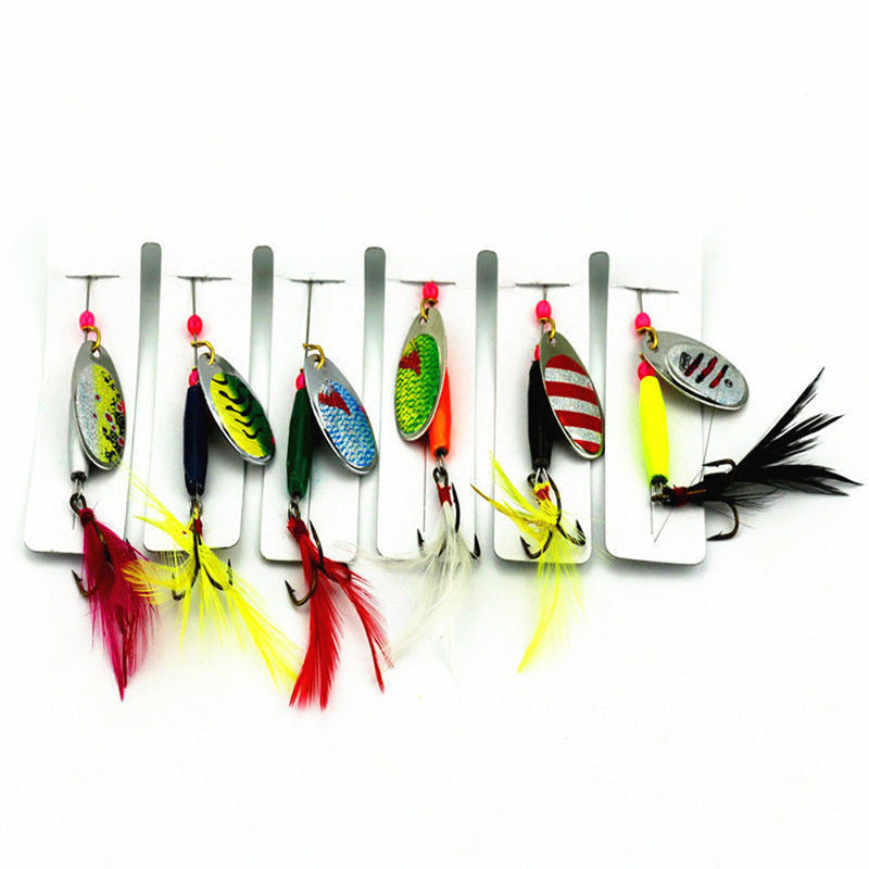 Hot 6pcs Spoon Metal Fishing Lures Set Spinner Baits CrankBait Bass Tackle Hook Free Shipping