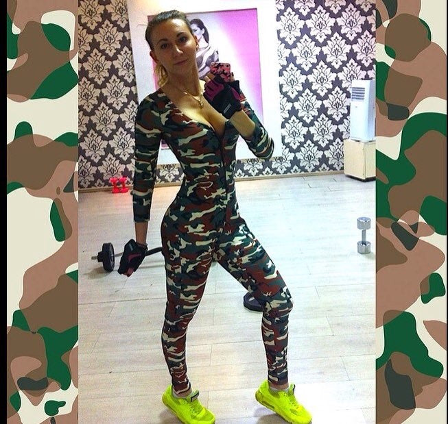 43a1f722f1a2 Camouflage Jumpsuit Romper Fitness Slim Bodysuit Women Romper Be Stretchy  Bodysuit Overalls Big Size Rompers Womens