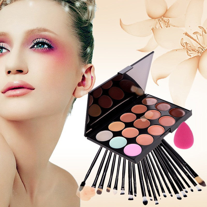 15 Color Concealer Palette + Eye Make-up Brushes + Teardrop-shaped puff Makeup Contour Palette Paleta De Corretivo Facial