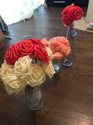 Artificial PE Foam Rose Flowers Bride Bouquet Home Wedding