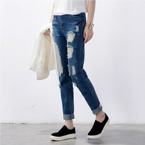 Women's Ripped jeans Fashion boyfriend jeans for woman Loose hole denim pants Free shipping