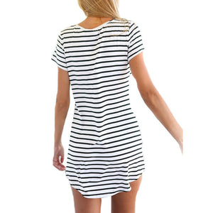 Striped Shirt Women Brand, New Casual O-Neck Short Sleeve Loose T-Shirt For Women Girls Black White