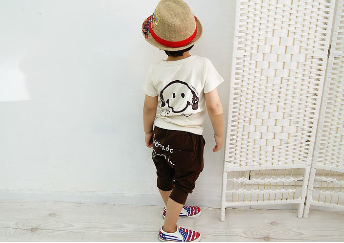Boys Summer Cotton Clothes sets Smile Face Printed Cute T-shirts+ pants kids pajama clothing set Baby