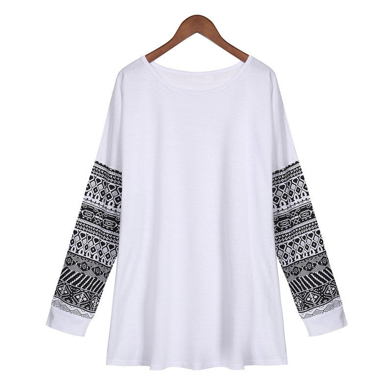 Spring Autumn Women T Shirt Fashion O Neck Printed Long Sleeve Loose T-Shirt Casual Tops Pullover Blusas Plus  Size S-5XL
