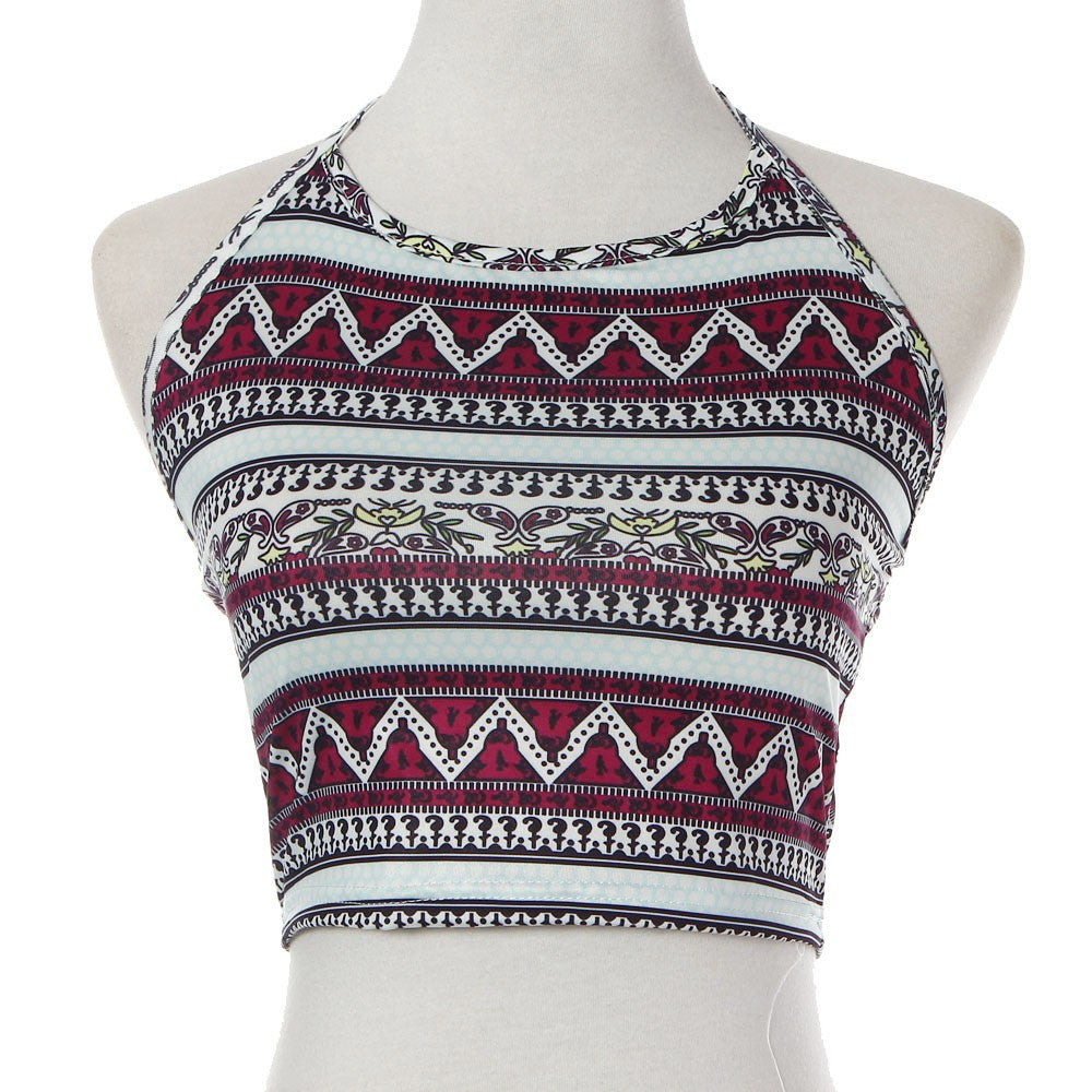 Sexy crop top Women Boho Tank Tops Bustier Crop Shirt Blouse Cami Plus Size S-XL Geometric print Tees Vest