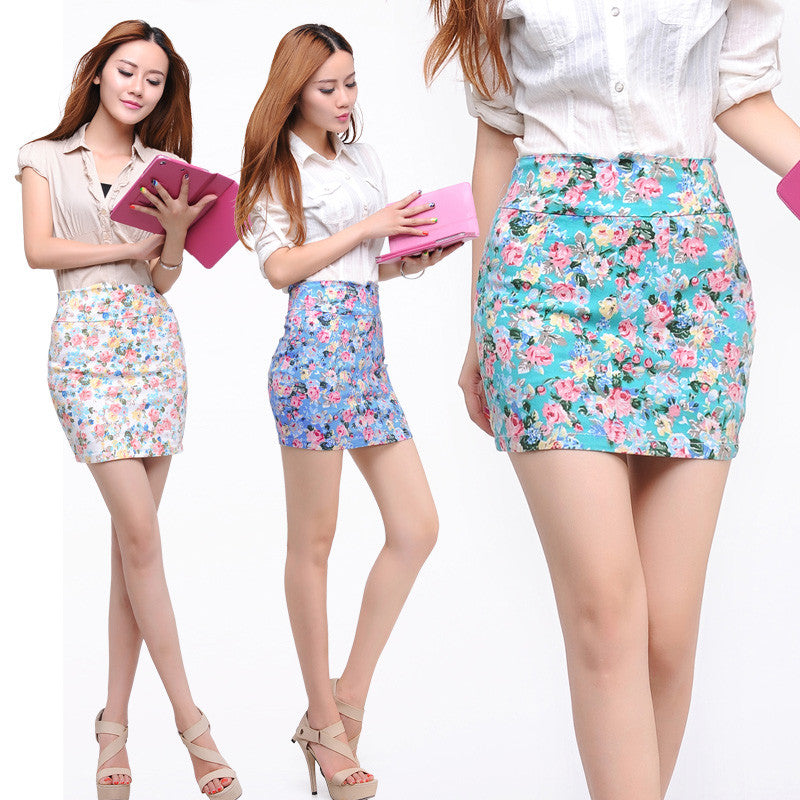 5 colors  Spring summer women Fashion Girl flower full Printing  Short Skirts Elastic hip Skirt New  M L size