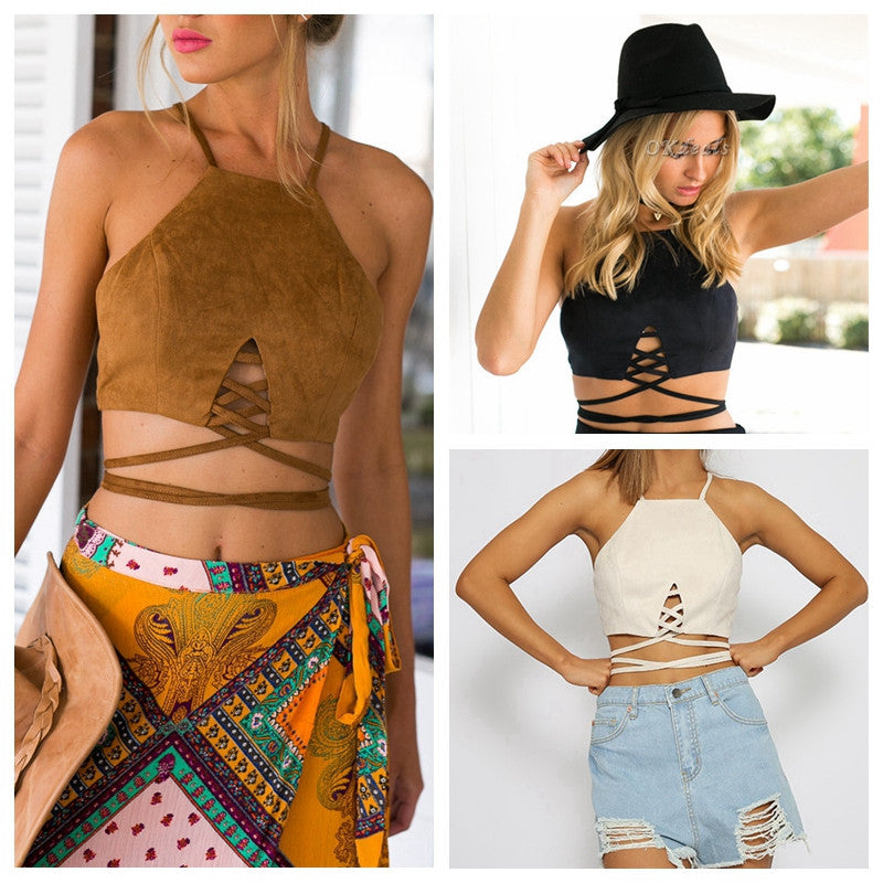 New Women Arrive Faux Suede Halter Cross Hollow Boho Bohemian Bandage Camis Women's Sexy Bustier Bralet Cropped Top Vest Camis