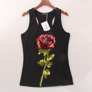 2 Colors Summer Style Tank Top Women Rose Sequins Sequined Vest Camisole Women Tops Fashion Sexy Hot  Racer Back Tank Tops