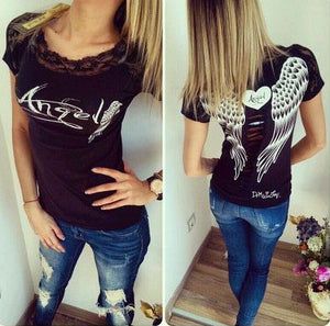 Summer New fashion lace angle wing printed T-shirts for women tee shirt femme camisetas poleras tshirt female t shirts  tops