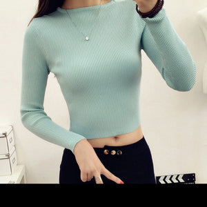 Tops Women O-neck Long Sleeve Clothing Crop Top Feminine White black knitted Cropped Tops For Women T Shirt