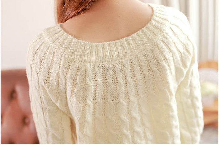 9 Colours Women Sweater Pullovers Fashion Casual Long Sleeve O-neck Twist Knitted Christmas Sweter Casacos Femininos