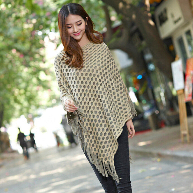Women Cape Fashion Poncho tassel autumn loose Sweaters Batwing Knitted Tassels Hem Pullover irregularity Cloak Tops Shawl mantle