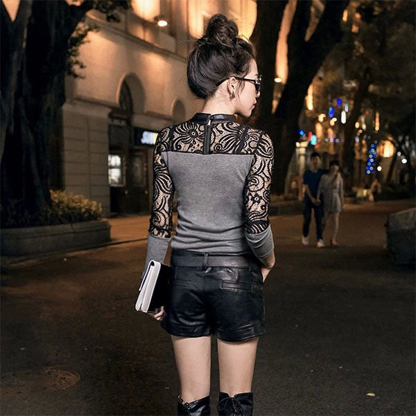 Fashion Women Crew Neck Hollow Out Long Sleeve Slim Knitwear Female Sexy Lace Party Club Wear Base Sweater Size M L XL