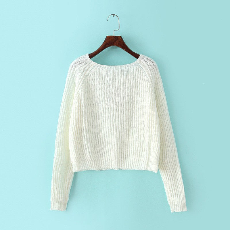 Autumn winter new 2016 crop sweater casual sexy women sweaters and pullovers knitted jumpers short basic solid slim pull femme