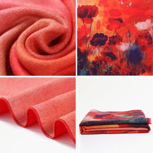 Brand Floral Scarf Women Bufandas Warm Cashmere Winter Shawls and Scarves