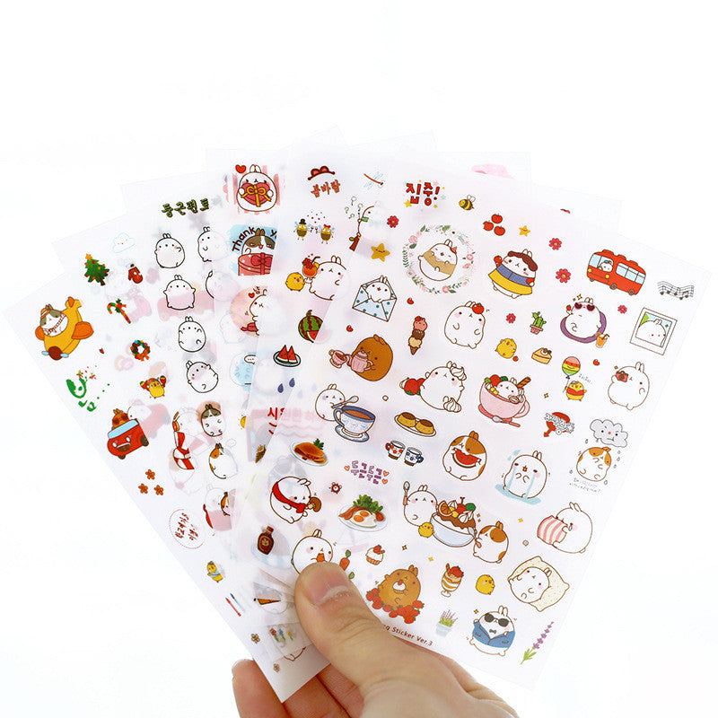 6 Pcs / Pack, 3 Pack New Korea Creative Cartoon Potato Rabbit I Series Kawaii Pvc Sticker In The Third Quarter Potatoes Rabbit