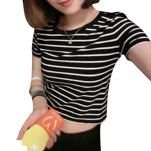 New 2017 Women Tops Summer Ladies T shirt Sexy Crop Tops Striped Short Sleeved T-shirt Slim Short Female Clothes Slim Kpop Top
