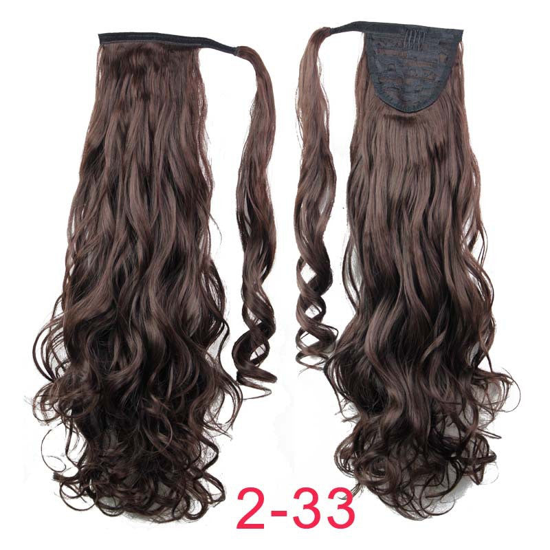 "22"" Synthetic Hair Long Wavy Clip In Ribbon Ponytail Hair Extensions curly Hairpiece Fake Hair pony Tails ponytails hair pieces"