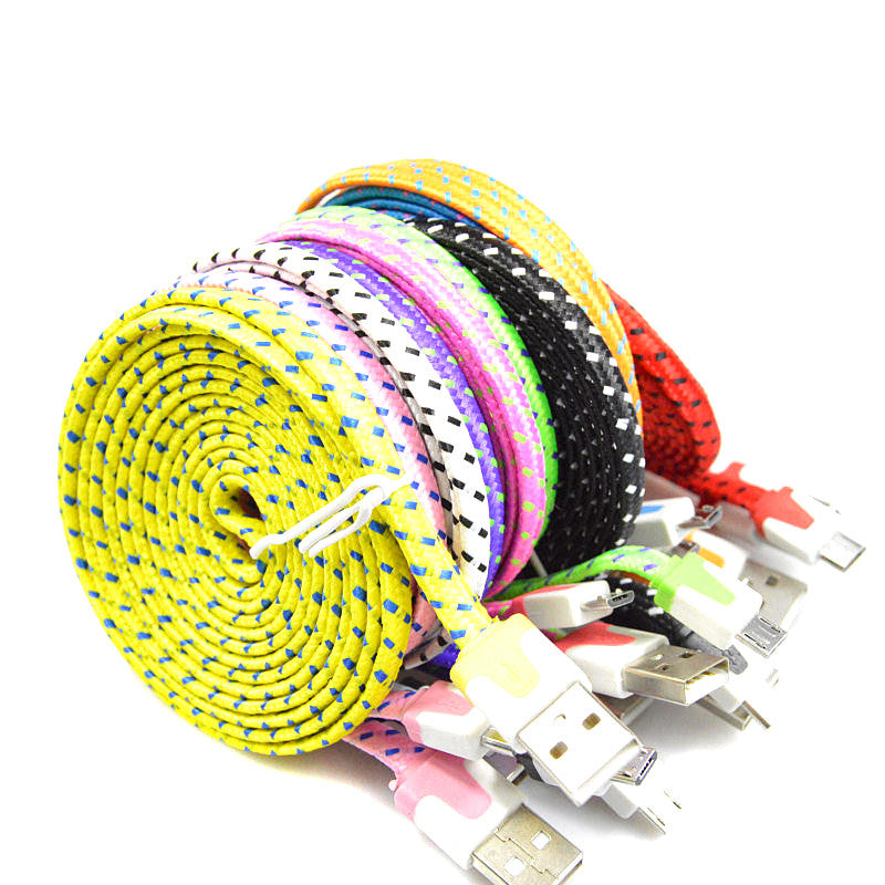 1M 2M 3M Braided Colorful USB Charging Sync Cord Data Cable for Iphone 5 5s 6 6s plus chargering wire