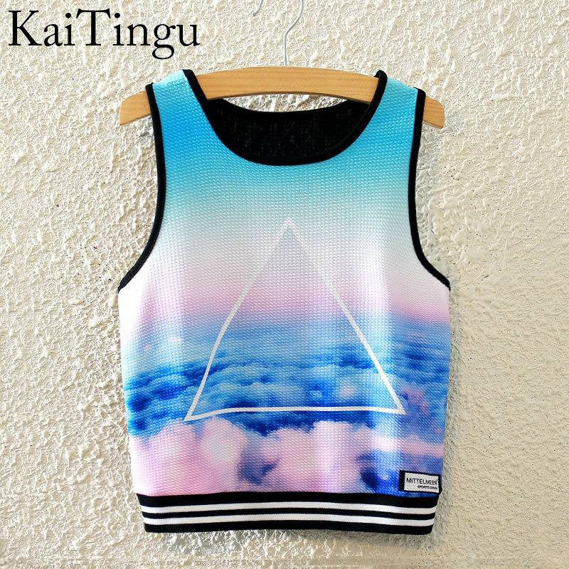 Brand New Fashion Women Sleeveless Sky Print Crop Top Cropped Tops Casual Top Fitness Women Vest Tank Tops