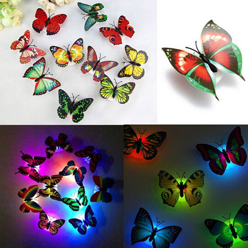 1PCS Lovely Creative Color Changing ABS Butterfly LED Night Lights Lamp Beautiful Home Decorative Wall Nightlights Random