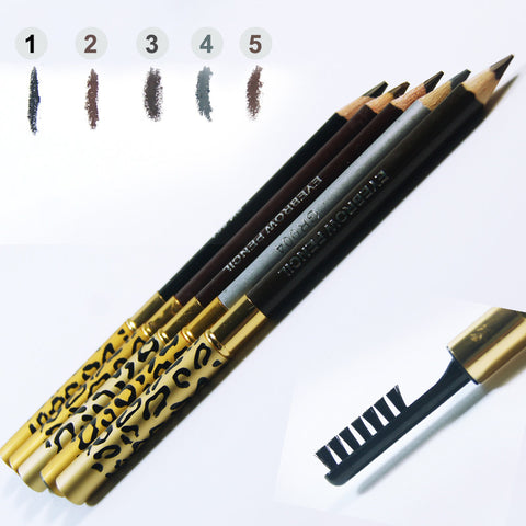 1 PCs New Women Lady Double-use Waterproof Brown Black Leopard Cosmetic Makeup Eyebrow Pencil Pen With Brush