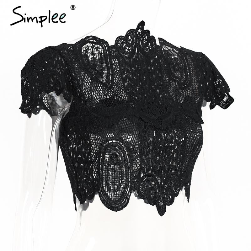 Summer style elegant black lace crochet crop top Girls short sleeve white blouse Women sexy hollow out tank tops