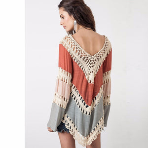 Crochet Sexy Pullover Womens Poncho Hollow Out Sweater Women Pull Femme V-Neck Womens Jumpers Bohemia Autumn Capes And Ponchoes