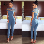2017 New high neck  cut out bandage bodysuits one piece sets wholesale sexy Long Sleeve hollow out shoulder  Ladies Jumpsuits