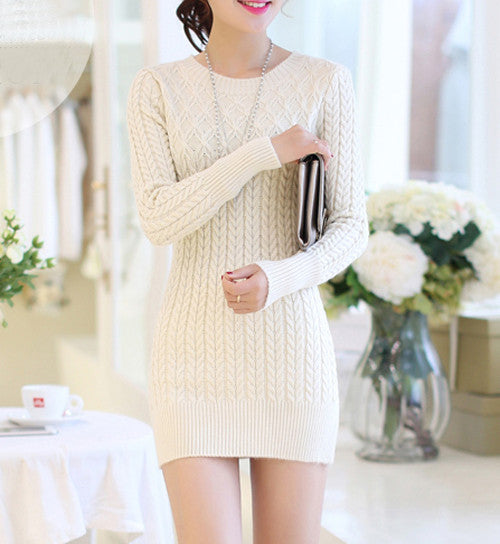 Thick Slim Long Geometric Women Sweater 2016 New Casual Winter Autumn Pullover O-Neck Elegant Pull Femme