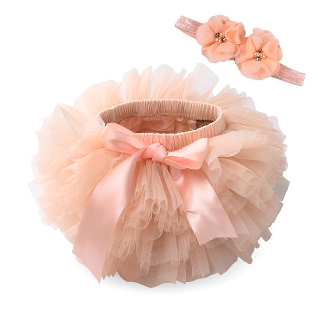 Baby girl tutu skirt 2pcs tulle lace bloomers diaper cover Newborn infant outfits